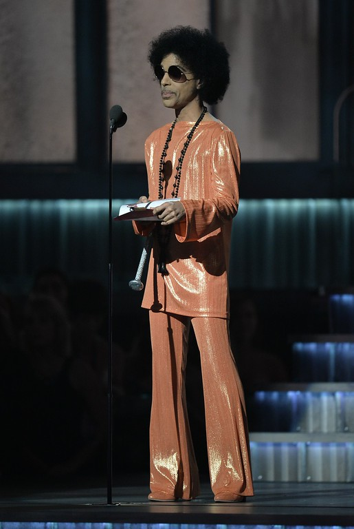 . Prince presets an award on stage at the 57th Annual Grammy Awards in Los Angeles February 8, 2015. Prince\'s publicist has confirmed that Prince died at his his home in Minnesota, Thursday, April 21, 2016. He was 57.  (ROBYN BECK/AFP/Getty Images)