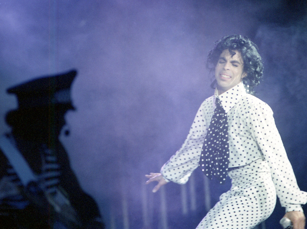 . American popstar Prince performing at the Eissporthalle in Frankfurt, Germany during his Parade Tour, on August 26, 1986. (AP Photo)