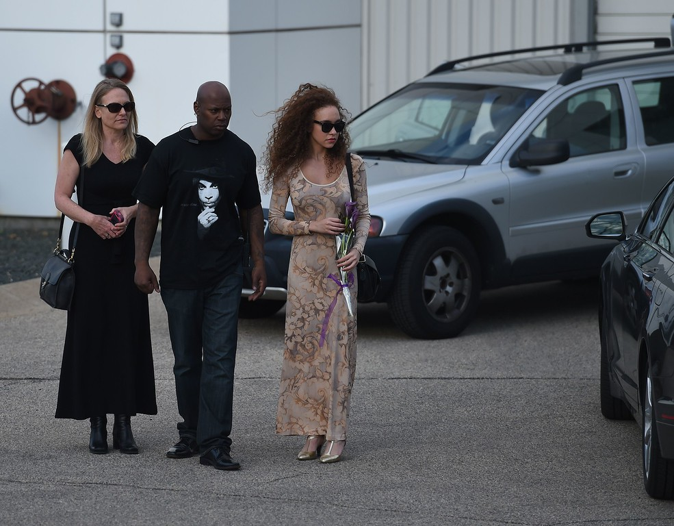 . Guests leave after a memorial service on April 23, 2016 inside the Paisley Park compound of music legend Prince, who died suddenly at the age of 57, in Minneapolis, Minnesota.  Family, friends and musicians attended the service after the remains of Prince were cremated before being placed in a private location. (MARK RALSTON/AFP/Getty Images)