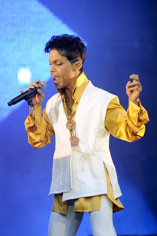 . US singer and musician Prince (born Prince Rogers Nelson) performs on stage at the Stade de France in Saint-Denis, outside Paris, on June 30, 2011. (BERTRAND GUAY/AFP/Getty Images)