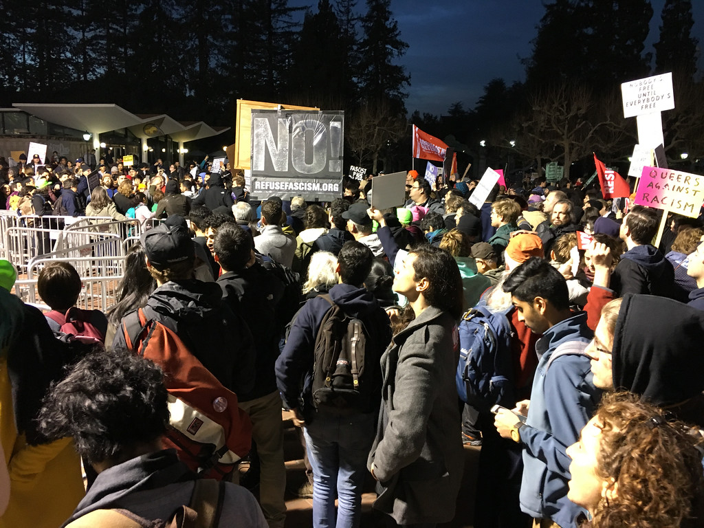 . Controversial alt_right speaker Milo Yiannopoulos was greeted by a large group of protestors for his scheduled appearance at U.C. Berkeley Wednesday evening, Feb. 1, 2017. (Doug Duran/Bay Area News Group)