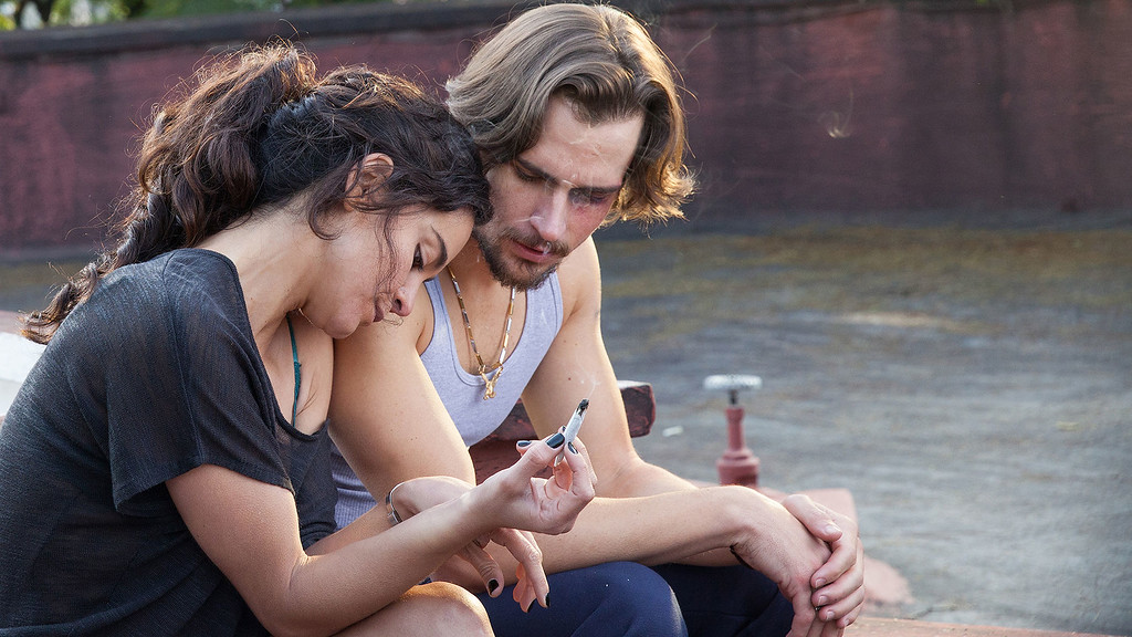 ". QUEEN OF THE SOUTH -- ""Piloto\"" Episode 101 -- Pictured: (l-r) Alice Braga as Teresa Mendoza, Jon Ecker as Guero -- (Photo by: Benedicte Desrus/USA Network)"