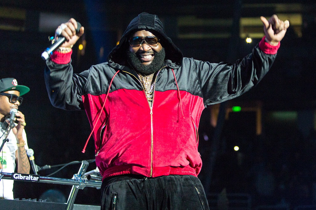 . Rick Ross performs on stage during Power 106\'s Cali Christmas at Honda Center on Saturday December 14, 2013 in Anaheim, CA. (Photo by Paul A. Hebert/Invision/AP)