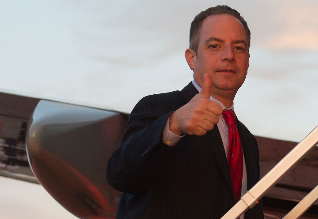 . White House Chief of Staff Reince Priebus gives a thumbs-up as he boards Air Force One prior to departure from Youngstown-Warren Regional Airport in Vienna, Ohio, July 25, 2017, following a campaign rally with US President Donald Trump. (SAUL LOEB/AFP/Getty Images)