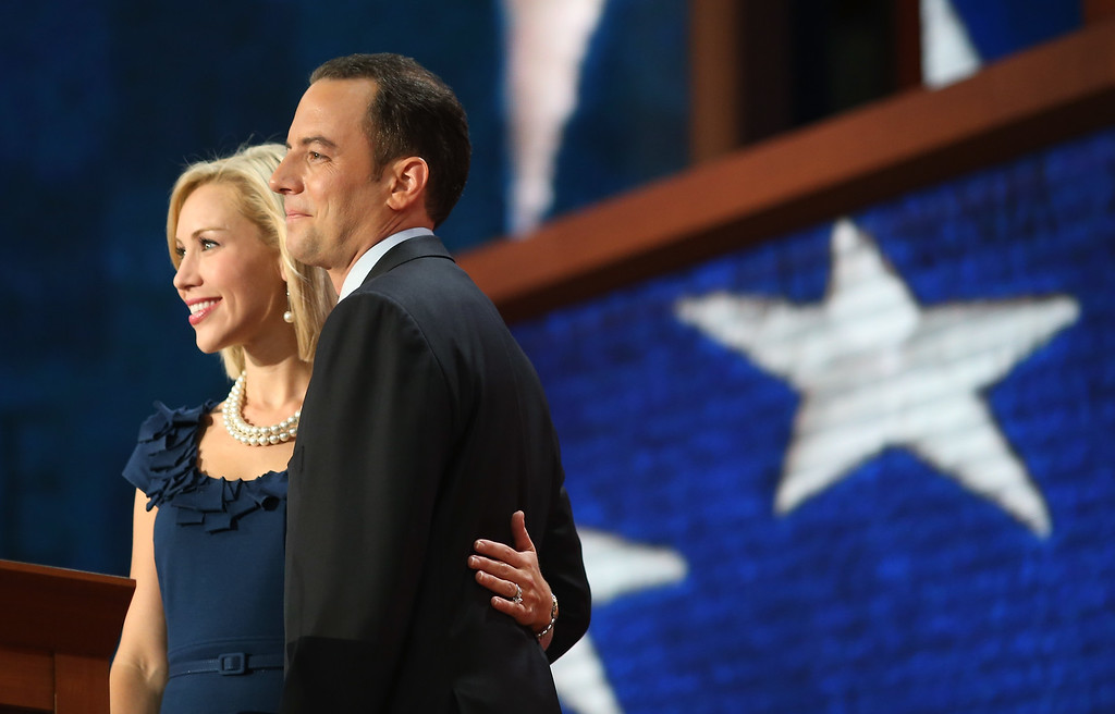 . TAMPA, FL - AUGUST 28:  RNC Chairman Reince Priebus stands his wife Sally Priebus during the Republican National Convention at the Tampa Bay Times Forum on August 28, 2012 in Tampa, Florida.   (Photo by Spencer Platt/Getty Images)