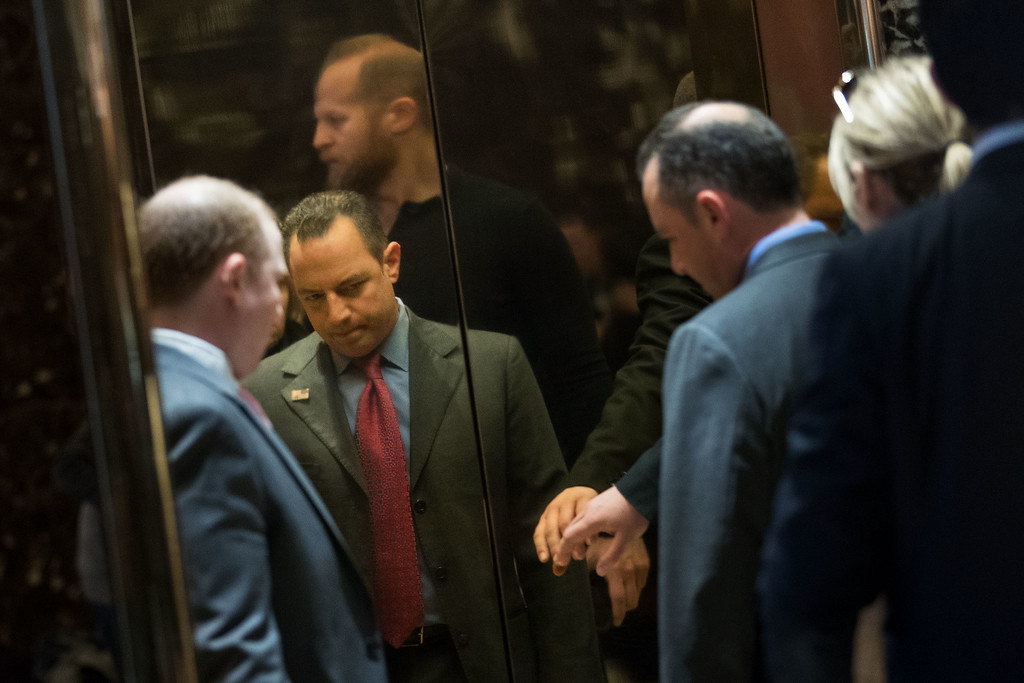 . NEW YORK, NY - NOVEMBER 11: Republican National Committee chairman Reince Priebus is reflected on the wall of an elevator in the lobby of Trump Tower, November 11, 2016 in New York City. On Friday morning, Trump tweeted that he \'has a busy day in New York\' and \'will soon be making some very important decisions on the people who will be running our government.\' (Photo by Drew Angerer/Getty Images)