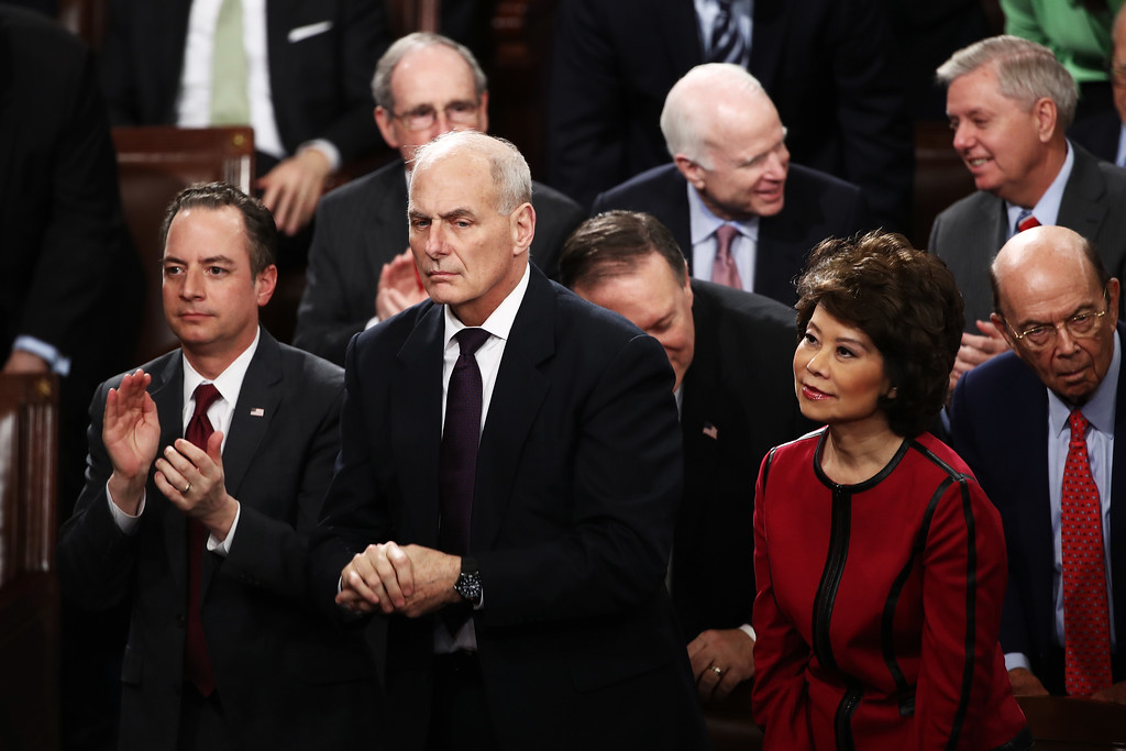 . File - White House Chief of Staff Reince Priebus (L), Homeland Security Secreary John Kelly (C), and Transporation Secretary Elaine Chao attend U.S. President Donald Trump address a joint session of the U.S. Congress on February 28, 2017 in the House chamber of  the U.S. Capitol in Washington, DC. Trump announced Friday he was appointing Homeland Security head John Kelly to be White House chief of staff, ending the tumultuous six-month tenure of Reince Priebus.  (Photo by Win McNamee/Getty Images)