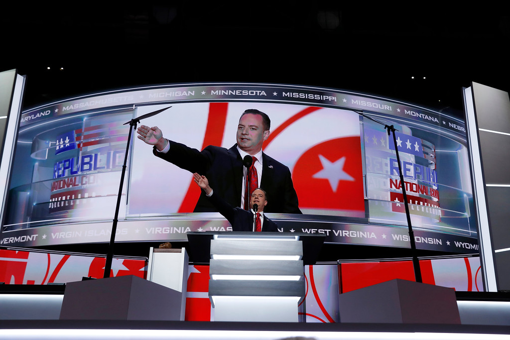 . Reince Priebus, Chairman of the Republican National Committee, speaks during first day of the Republican National Convention in Cleveland, Monday, July 18, 2016. (AP Photo/Carolyn Kaster)