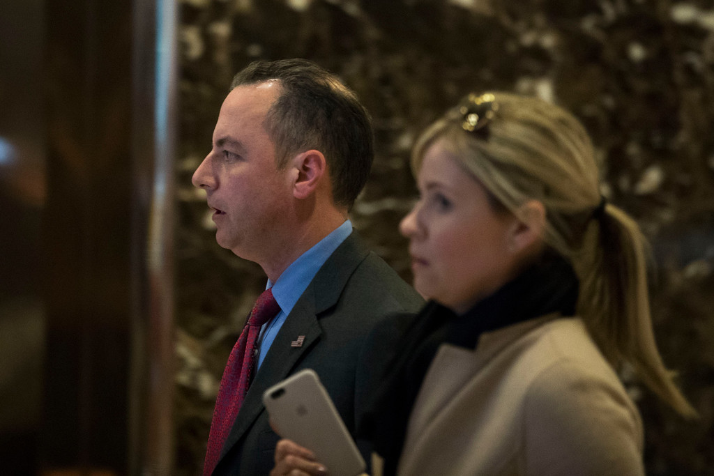 . NEW YORK, NY - NOVEMBER 11: Republican National Committee chairman Reince Priebus arrives in the lobby of Trump Tower, November 11, 2016 in New York City. On Friday morning, Trump tweeted that he \'has a busy day in New York\' and \'will soon be making some very important decisions on the people who will be running our government.\' (Photo by Drew Angerer/Getty Images)