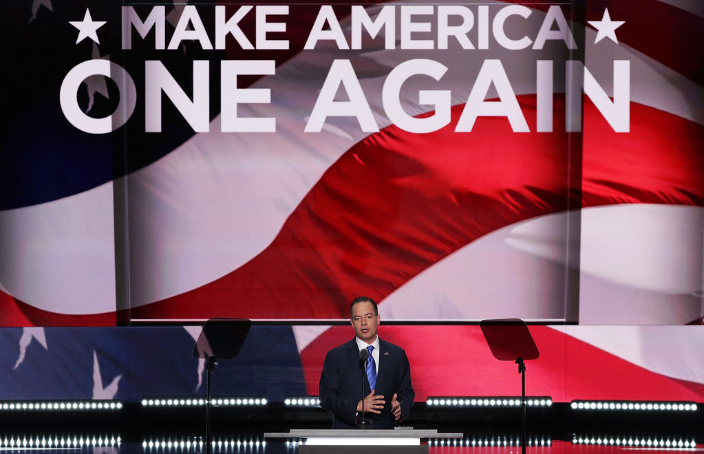 . CLEVELAND, OH - JULY 21:  Reince Priebus, chairman of the Republican National Committee, delivers a speech during the evening session on the fourth day of the Republican National Convention on July 21, 2016 at the Quicken Loans Arena in Cleveland, Ohio. Republican presidential candidate Donald Trump received the number of votes needed to secure the party\'s nomination. An estimated 50,000 people are expected in Cleveland, including hundreds of protesters and members of the media. The four-day Republican National Convention kicked off on July 18.  (Photo by Alex Wong/Getty Images)