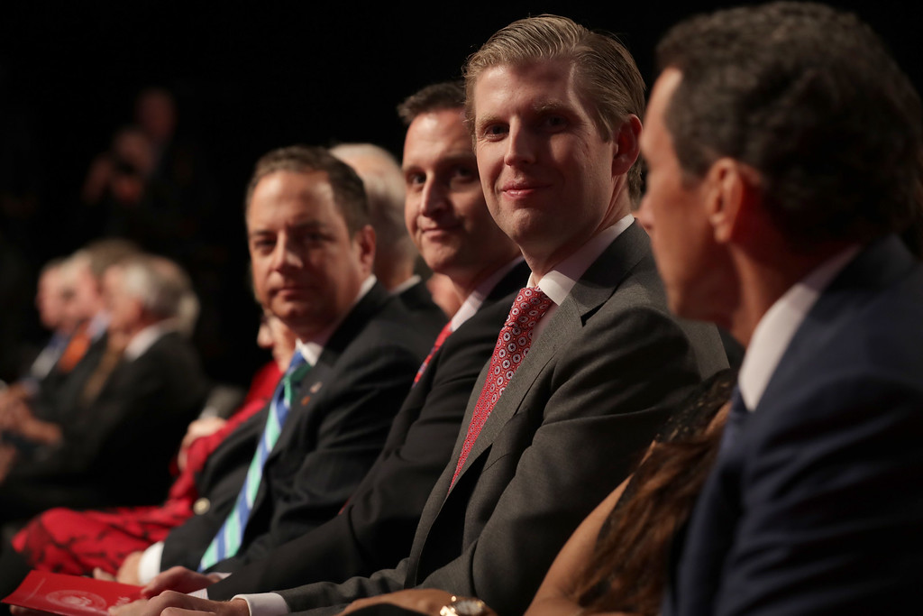 . FARMVILLE, VA - OCTOBER 04:  (L-R)  Reince Priebus, chairman of the Republican National Committee, Chairman of the Virginia Republican Party John Whitbeck and Eric Trump attend the Vice Presidential Debate between Democratic vice presidential nominee Tim Kaine and Republican vice presidential nominee Mike Pence at Longwood University on October 4, 2016 in Farmville, Virginia.  This is the second of four debates during the presidential election season and the only debate between the vice presidential candidates.  (Photo by Chip Somodevilla/Getty Images)