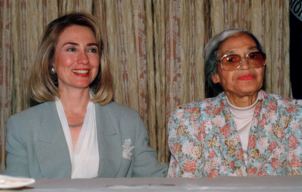 . Rosa Parks is seen with Hillary Rodham Clinton, wife of Democratic Presidential candidate Bill Clinton, on the second day of the Democratic National Convention in New York, July 14, 1992.  (AP Photo/Richard Drew)