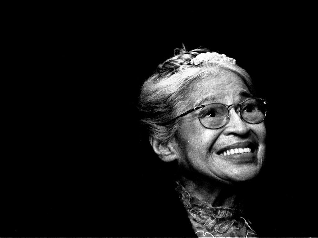 . Rosa Parks smiles during a ceremony where she received the Congressional Medal of Freedom in Detroit, Mich., Nov. 28, 1999.  Parks, whose refusal to give up her bus seat to a white man sparked the modern civil rights movement, died of natural causes in her Detroit home Monday, Oct. 24, 2005, she was 92.  (AP Photo/Paul Sancya)