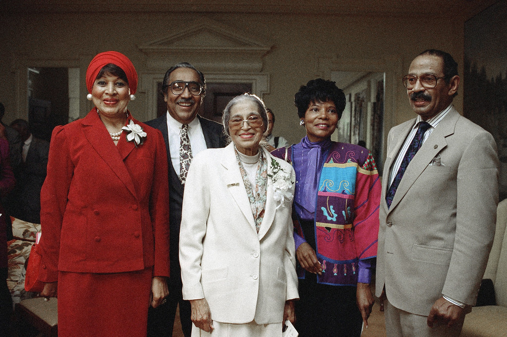 . Left to right are C. Dolores Tucker, executive producer of Parks Salute; Charles Rangel (D-NYC), Rosa Parks, Elaine Steele, executive assistant to Rosa Parks; John Conyers (D-Mich.), shown together, April 11, 1991. (AP Photo)