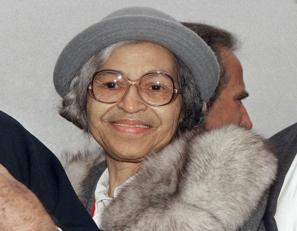 . FILE - In this Oct. 28, 1986 file photo, Rosa Parks is shown at Ellis Island in New York. Sen. Jeanne Shaheen, D-NH, filed legislation Tuesday, April 14, to create a citizens panel to recommend an appropriate woman candidate to be put on a $20 bill. Parks, a civil rights activist, is among the women suggested by a group promoting the effort. (AP Photo, File)