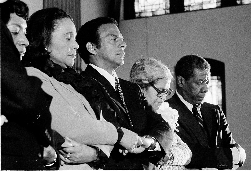 . From left to right: Coretta Scott King, Andrew Young, and Rosa Parks take part in a ceremony, Jan. 15, 1980, honoring the late Martin Luther King, Jr. Young was a guest speaker and Parks received the Martin Luther King, Jr. Nonviolent Peace Prize. Persons at far left and far right are unidentified. (AP Photo)
