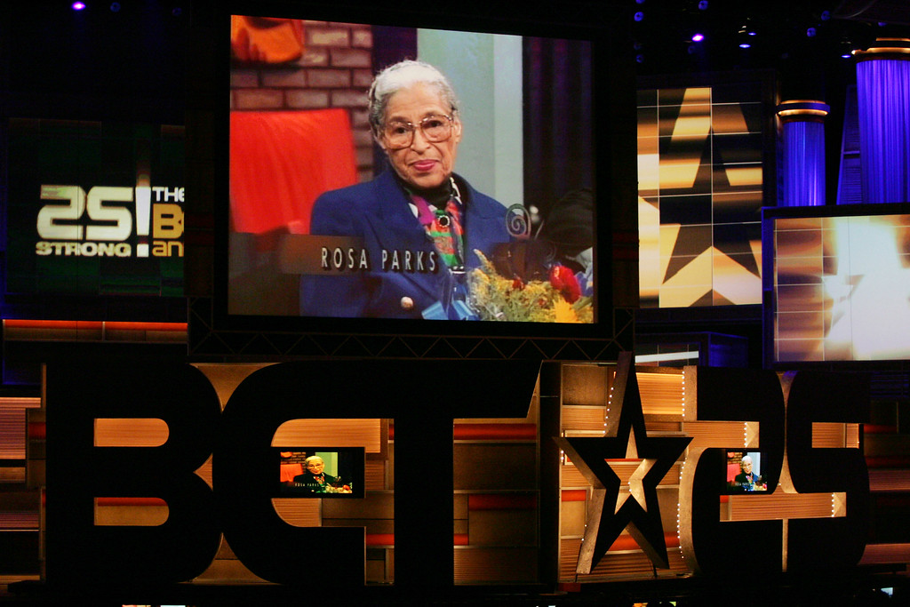 . Rosa Parks is seen on the big screen during a tribute to her life during the 25 Strong: BET Silver Anniversary Special taping, Wednesday, Oct. 26, 2005, at the Shrine Auditorium in Los Angeles. (AP Photo/Danny Moloshok)
