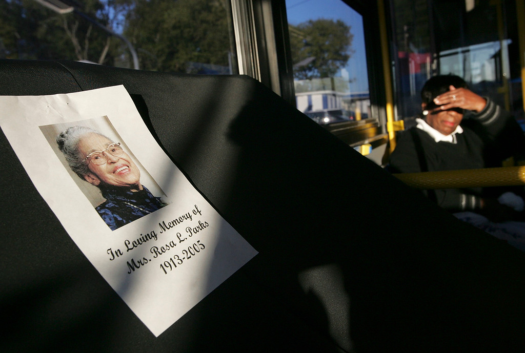 . MONTGOMERY, AL - OCTOBER 28:  The front seat on a Montgomery Area Transit System bus is covered with a black sheet in honor of civil rights icon Rosa Parks October 28, 2005 in Montgomery, Alabama. Rosa Parks, who died October 24, 2005 at the age of 92, changed history on December 1, 1955, when she refused to give up her seat on a city bus to a white passenger. Her arrest triggered a 381-day boycott of the Montgomery bus system.  (Photo by Justin Sullivan/Getty Images)