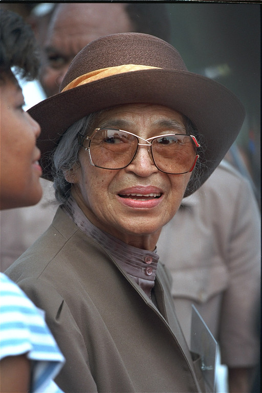 . Civil rights heroine, Rosa Parks, shown at the 30th anniversary of the March on Washington, August 28, 1993.  (AP Photo)