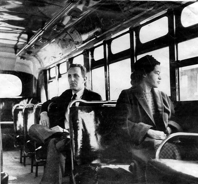 . This an undated photo shows Rosa Parks riding on the Montgomery Area Transit System bus. Parks refused to give up her seat on a Montgomery bus on Dec. 1, 1955, and ignited the boycott that led to a federal court ruling against segregation in public transportation. In 1955, Montgomery\'s racially segregated buses carried 30,000 to 40,000 blacks each day.   (AP Photo/Daily Advertiser)
