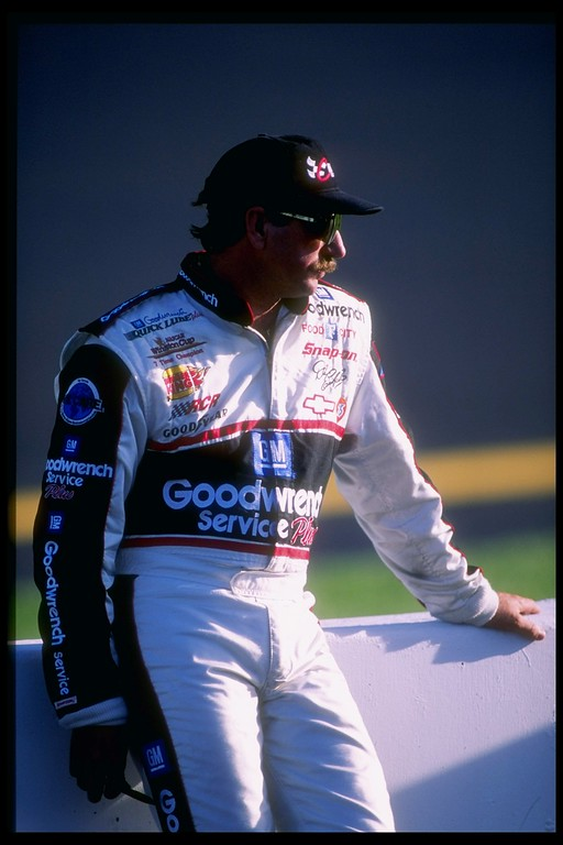. 6 Sep 1997 file photo:  Dale Earnhardt looks on during the Exide Batteries 400 at the Richmond International Raceway in Richmond, Virginia. (Craig Jones/Allsport)