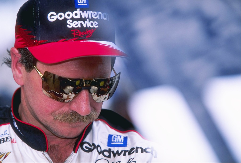 . 25 Apr 1997 file photo:  Dale Earnhardt looks on during the Winston 500 at the Talladega Super Speedway in Talladega, Alabama. (David Taylor/Allsport)