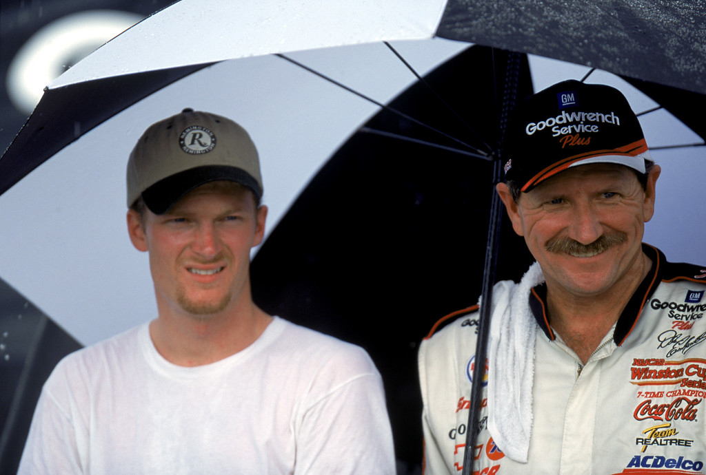 . File - Dale Earnhardt Jr. and Dale Earnhardt Sr. pose for a photograph after the Pepsi Southern 500 at the Darlington Raceway on September 3, 2000 in Darlington, South Carolina.  (Photo by Craig Jones/Getty Images)