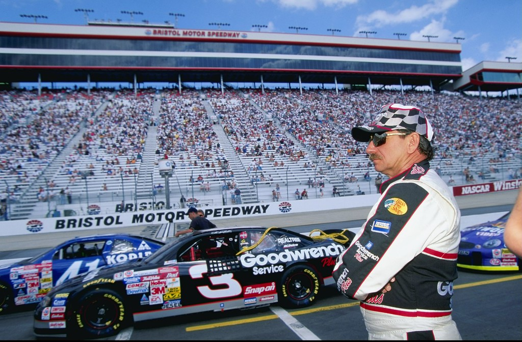 . In this 1999 file photo, Dale Earnhardt #3 looks on during practice for the Food City 500 of the NASCAR Winston Cup Series at the Bristol Motor Speedway in Bristol, Tennessee on April 9, 1999. On Feb. 18, 2001, Dale Earnhardt Sr., considered one of the greatest drivers in National Association for Stock Car Auto Racing (NASCAR) history, dies at the age of 49 in a last-lap crash at the 43rd Daytona 500 in Daytona Beach, Florida. (Jamie Squire  /Allsport)