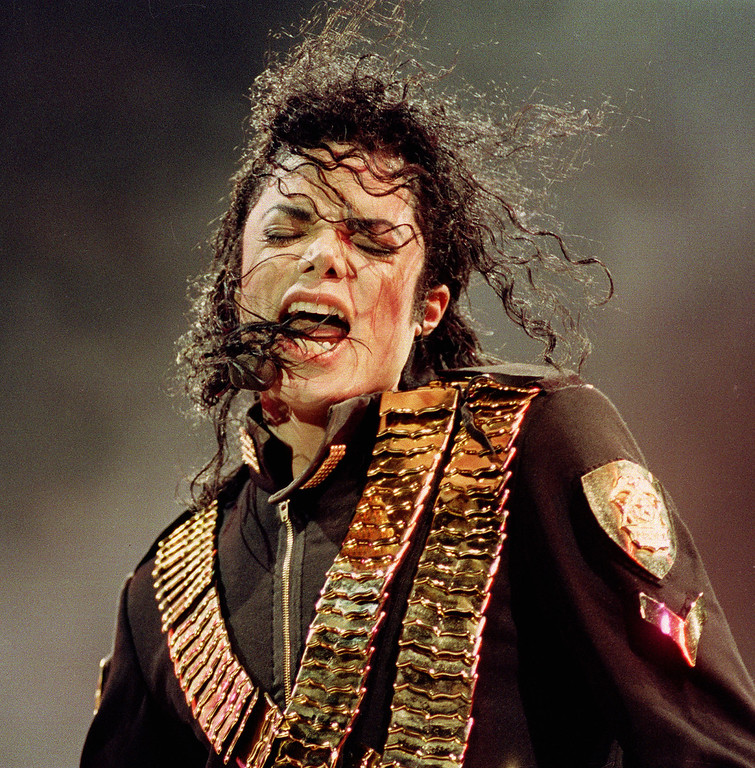. Pop singer Michael Jackson performs during his \'Dangerous\' concert in National Stadium, Singapore on Sunday, August 29, 1993.  (AP Photo/C.F. Tham)