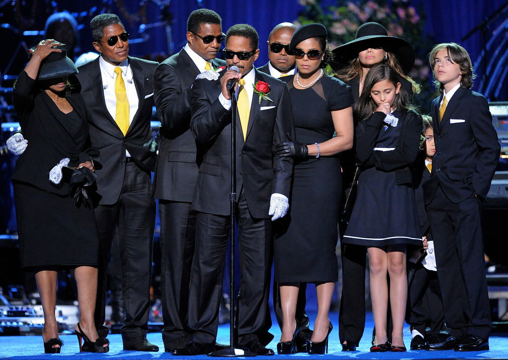 . Marlon Jackson speaks on stage with the Jackson family during the memorial service for Michael Jackson at the Staples Center in Los Angeles, Tuesday, July 7, 2009. (AP Photo/Mark J. Terrill, Pool)