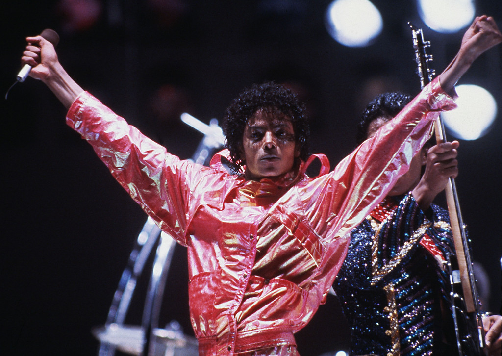 . Michael Jackson poses on stages in 1984 during the Jacksons\' Victory Tour.  (AP Photo)