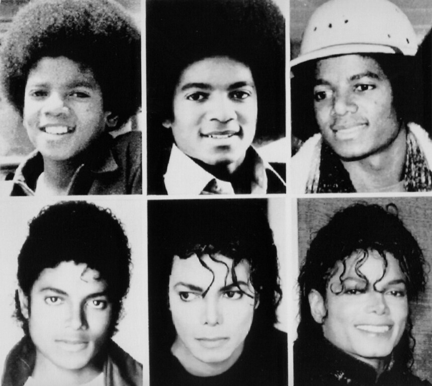 ". Jackson through the years. Michael Jackson, is shown top, from left: 1971; 1977; 1979, and bottom: 1983; 1987; and 1990. The reclusive pop-star, who debuted at age 5 with the Jackseon Five, has emerged from town years of professional dormancy with a new music video, ""Black or White\"". (AP-Photo)"