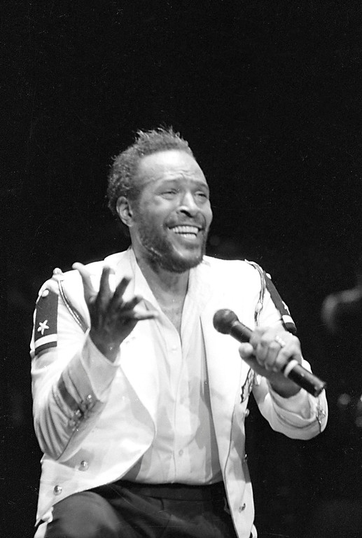 . Marvin Gaye performs at Radio City Music Hall in New York City, May 1983.  (AP Photo/Suzanne Vlamis)