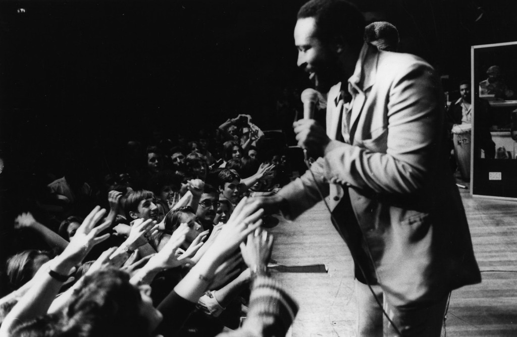 . Soul singer Marvin Gaye (1939 - 1984) in concert at the Royal Albert Hall on September 29, 1976.  (Photo by Evening Standard/Getty Images)