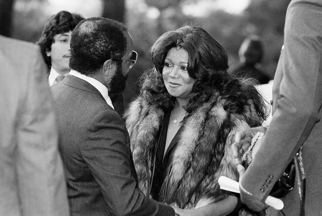 . Motown Records found founder Barry Gordy offers consolation to his sister Anna Gordy Gaye first wife of the late singer Marvin Gaye, Jr., at a public visitation of Gaye\'s body on April 4, 1984 at Forrest Lawn Memorial Park in Los Angeles. (AP Photo/Nick Ut)