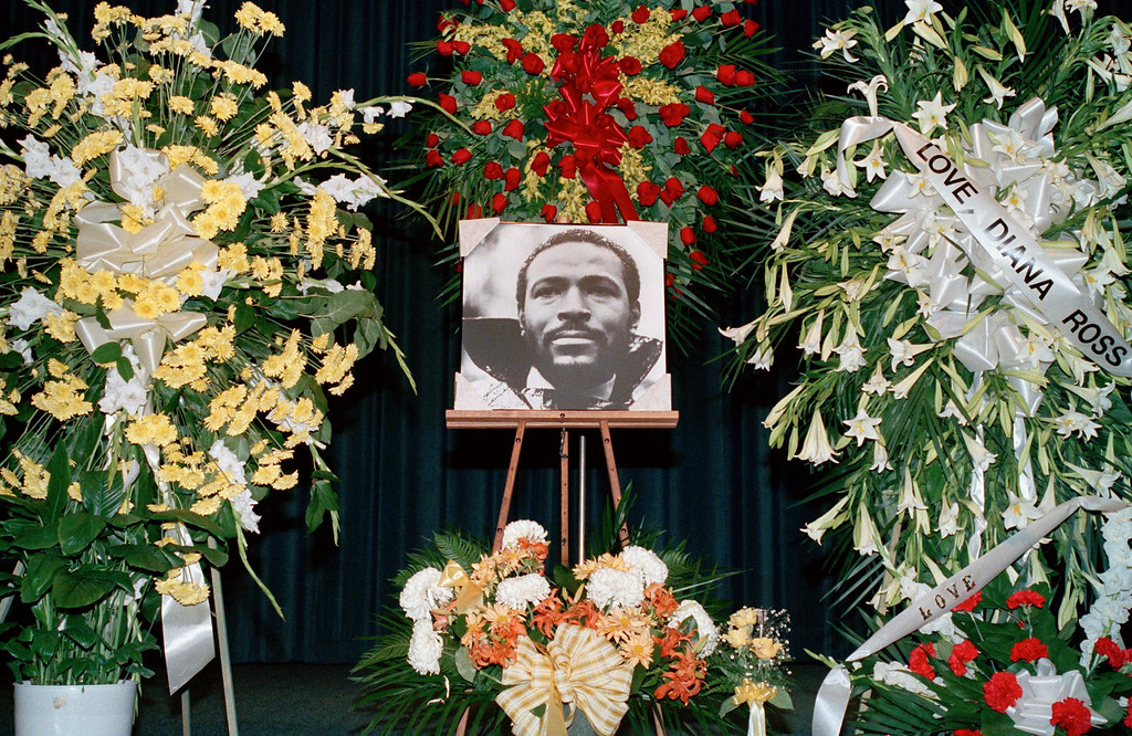 . This photo shows the funeral of Singer Marvin Gaye, April 5, 1984, Los Angeles, Calif. (AP Photo/LIU)