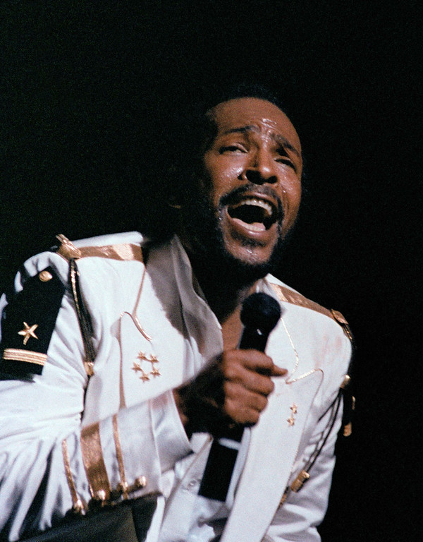 . Singer Marvin Gaye performs on opening night at Radio City Music Hall, May 17, 1983, New York. (AP Photo/Nancy Kaye)