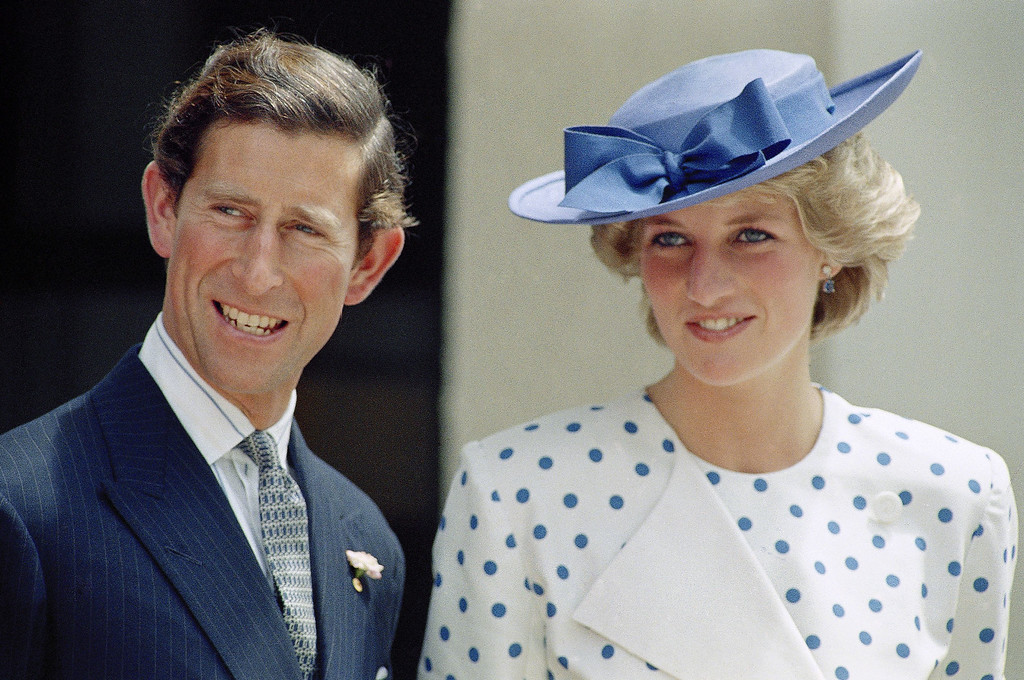 . Prince Charles with his wife Princess Diana in front of Lodge Canberra, Australia, on Nov. 7, 1985. (AP Photo)