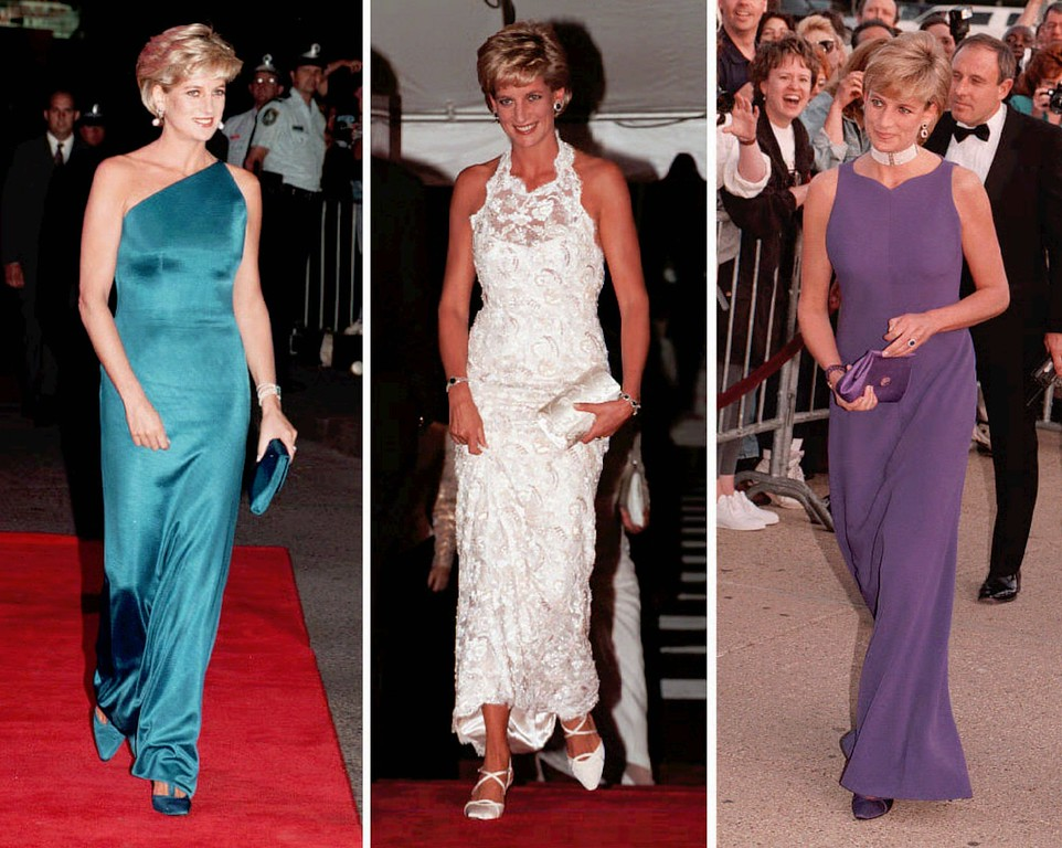 . Undated file pictures taken in 1996 showing Princess Diana at various functions around London.  (AP Photo/PA/FILE)