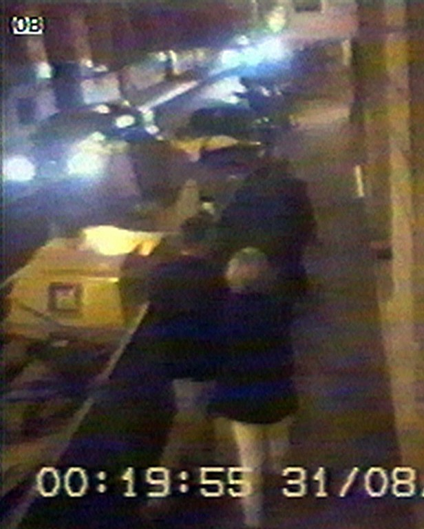 . Britain\'s Diana, Princess of Wales, back to camera, leaves the Ritz Hotel in Paris, in this picture made from security video taken at the hotel, in the early hours of Sunday morning, Aug. 31, 1997. Not long after, the car, seen at left, crashed killing the driver and Dodi Fayed and seriously injuring Princess Diana and a her bodguard. The princess died later in a Paris hospital from her injures. Other people in picture are unidentified. (AP Photo/APTV)