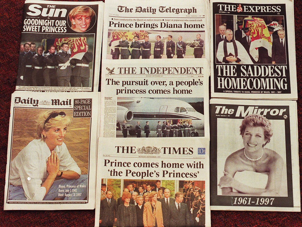 . Early editions of the British London national newspapers for Monday Sept. 1, 1997. All front pages are dominated by the death Diana , Princess of Wales, who was killed in a car crash in Paris, France, along with her friend Dodi Fayed, Sunday Aug. 31 1997.(AP Photo/Alastair Grant)