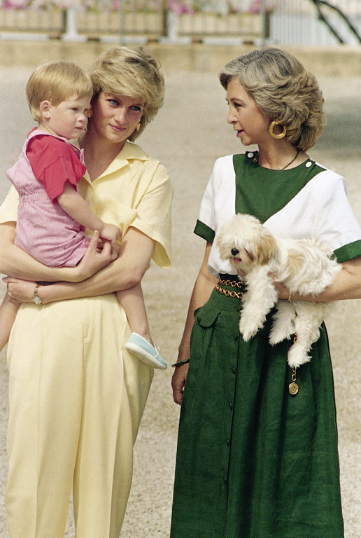 . The Princess of Wales carries her son Prince Harry, while Queen Sofia, of Spain carries a little dog, on the steps of the Royal Palace in Majorca, Spain on Sunday, August 9, 1987, where the British Royal family is on holiday, with the Spanish Royal Family. (AP Photo)