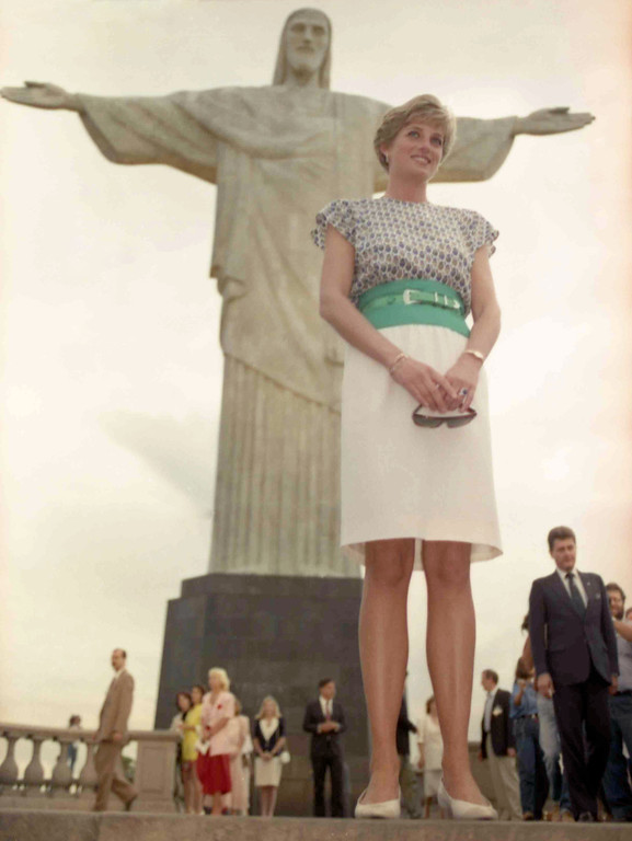 . Britain\'s Princess Diana, the Princess of Wales, stands in front of the world famous Corcovado statue, in Rio De Janeiro, on April 25, 1991.  (AP Photo/Caulkin)