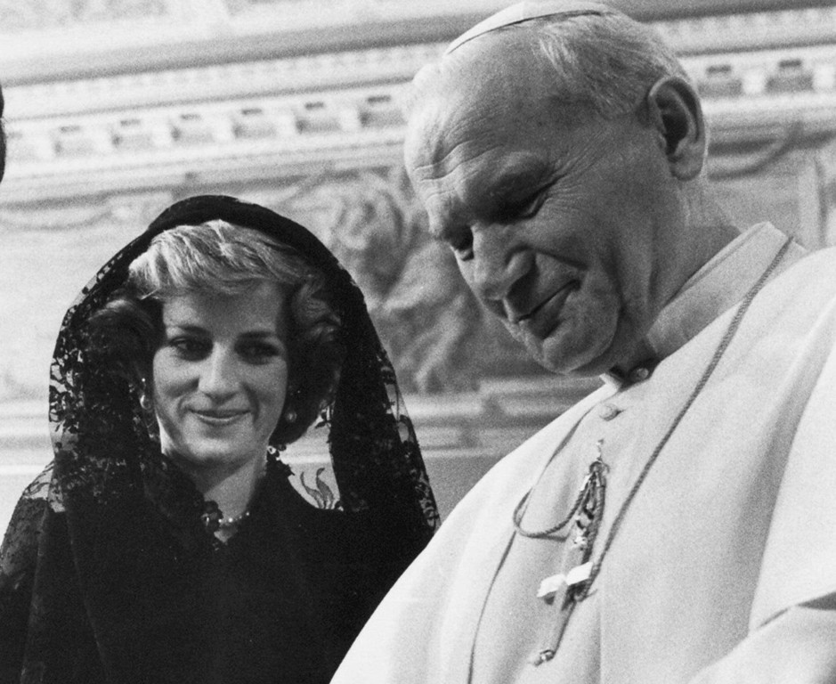 . Pope John Paul II and Diana, Princess of Wales are seen in this Aug. 29, 1985 file photo, on occasion of the private audience at the Vatican with her husband Prince Charles.  (AP Photo/Ron Bell)