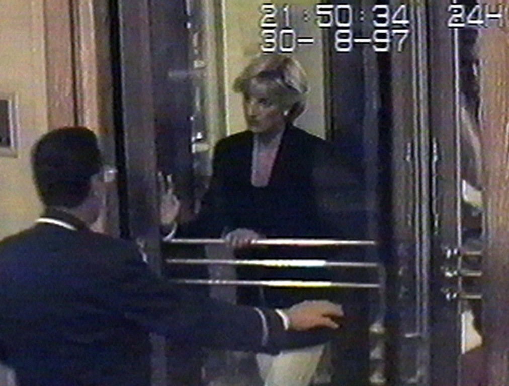 . Britain\'s Diana, Princess of Wales, arrives at the Ritz Hotel in Paris Saturday, Aug. 30, 1997 in this picture made from a security video. Just hours later, the Princess along with her boyfriend Dodi Fayed and their chauffeur died from injuries sustained in a car crash in Paris in the early hours of Sunday morning Aug. 31.  (AP Photo/APTV)