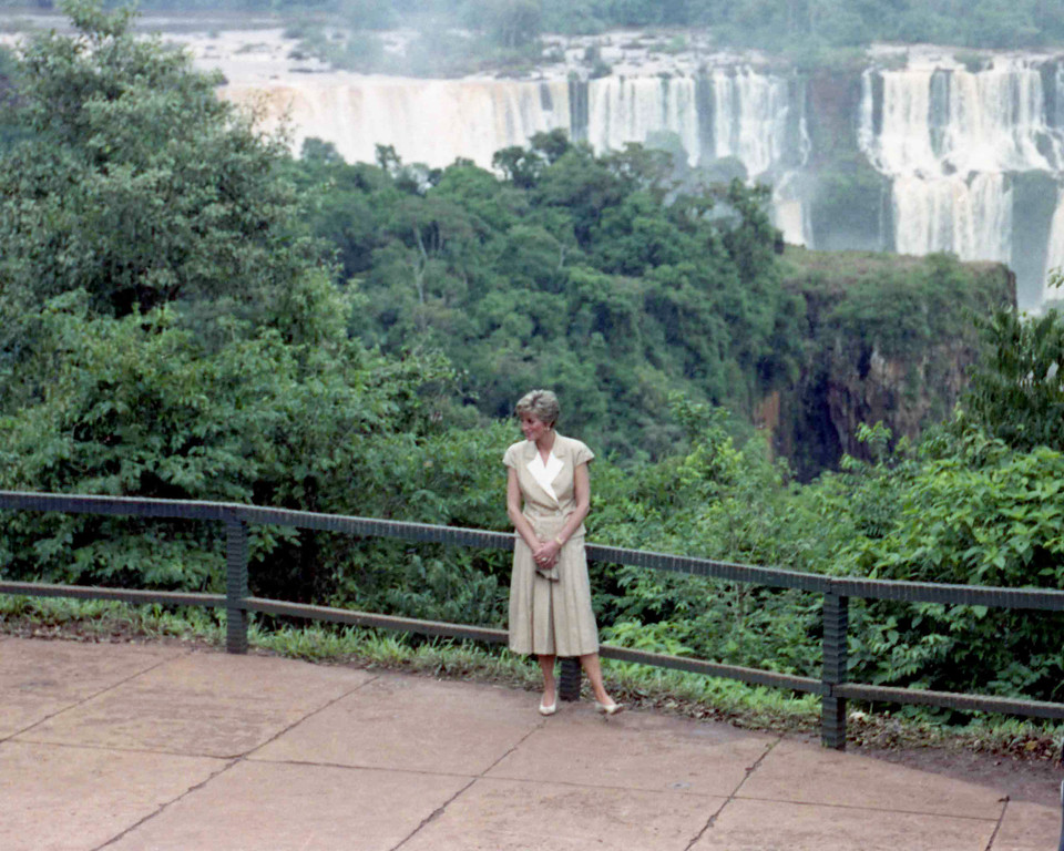 . Britain\'s Princess Diana, the Princess of Wales, dressed in stylish cullotes, poses in front of the famous Foz Do Iguaco waterfalls, on April 26, 1991.  (AP Photo/Caulkin)