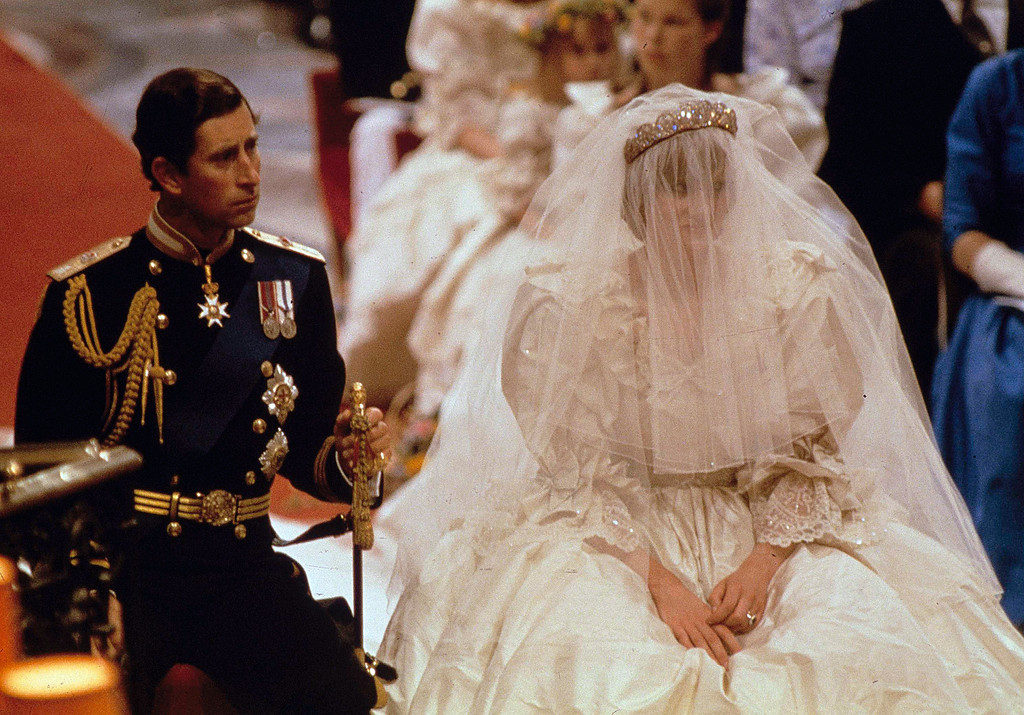 . Prince Charles and Lady Diana Spencer are shown on their wedding day at St. Paul\'s Cathedral in London on July 29, 1981. (AP Photo)