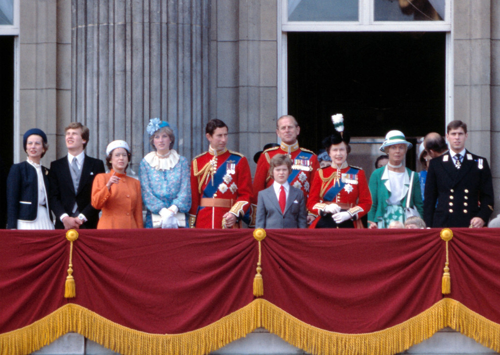. Britain\'s Queen Elizabeth II, third from the right, is joined by other members of the Royal Family, on the balcony at Buckingham Palace, London, after attending the annual Trooping of the Colour, June 13, 1981. Also in attendence is Princess Margaret, third from left, Princess Diana, fourth from left, Prince Charles, fifth from right, Prince Philip, fourth from right, at rear, and Prince Andrew, right. (AP Photo/Bob Dear)