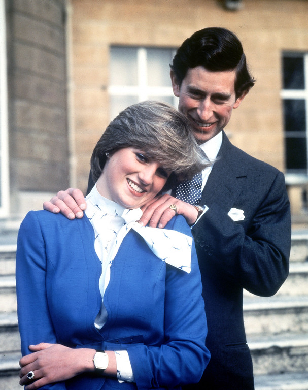 . Britain\'s Prince Charles and Lady Diana Spencer pose following the announcement of their engagement, Feb. 24, 1981. (AP Photo/Pool)
