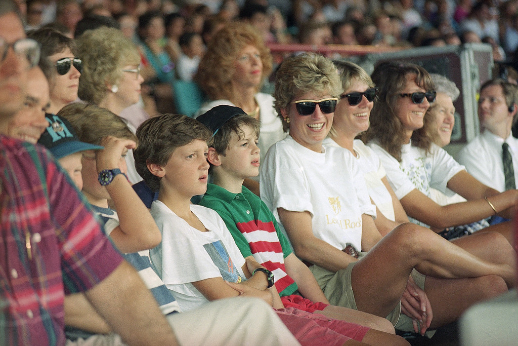 . Princess Diana watches the Indiana Jones Stunt Spectacular at MGM Studios in Lake Buena Vista, Florida on August 25, 1993. Diana, Prince Harry, and Prince William are spending a few days of private vacation at Walt Disney World. (AP Photo/Peter Cosgrove)